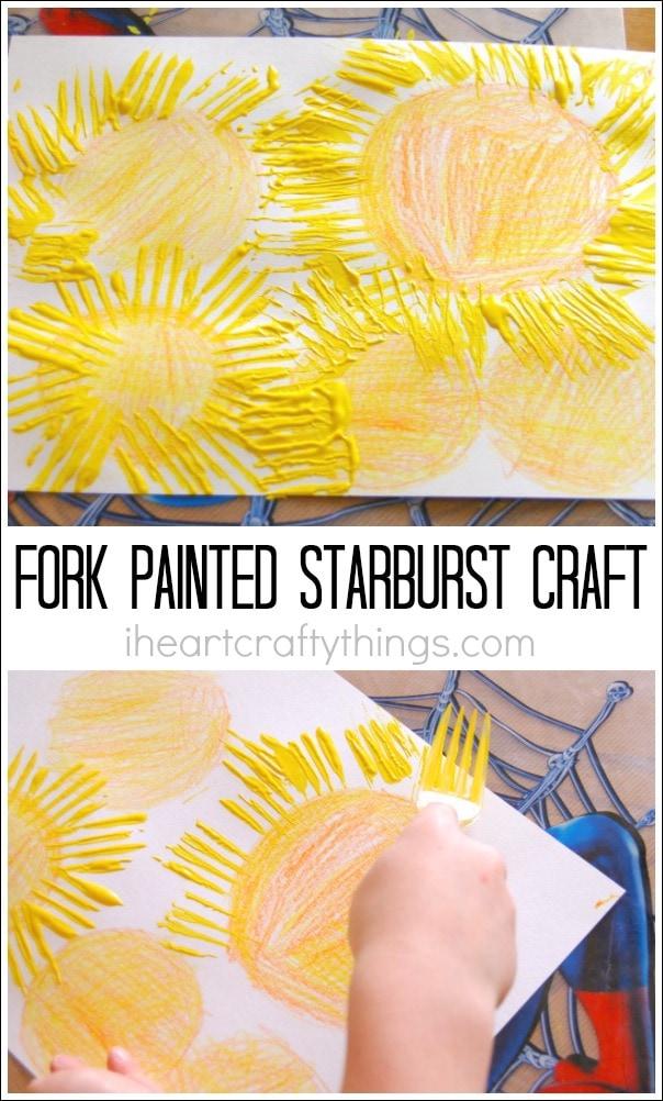 Starburst Craft Using Fork Painting