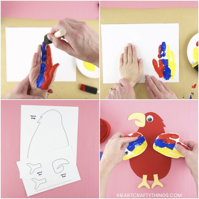 Four image square collage showing steps for how to make a handprint parrot craft.