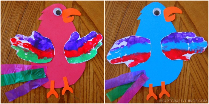 side by side image of a red parrot craft and blue parrot craft.