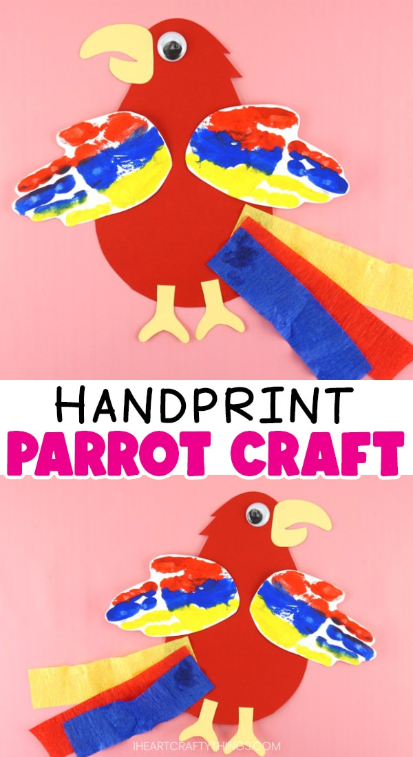 Vertical image with two parrot crafts facing opposite directions with the text 'handprint parrot craft' in the center.
