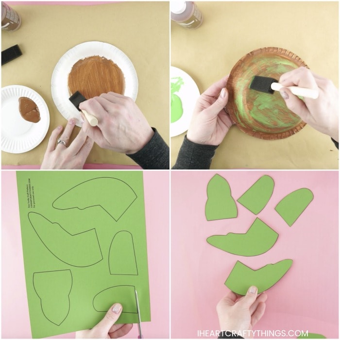 four square collage image showing steps for making a sea turtle craft