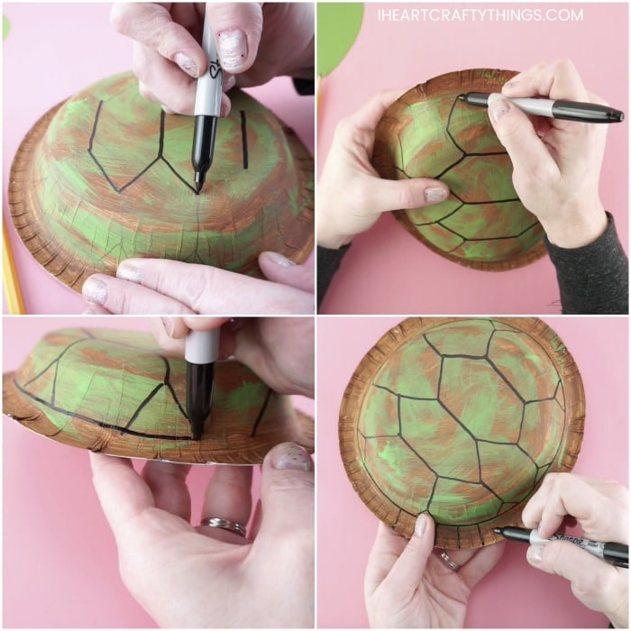 square four image collage with pictures showing how to make a sea turtle craft