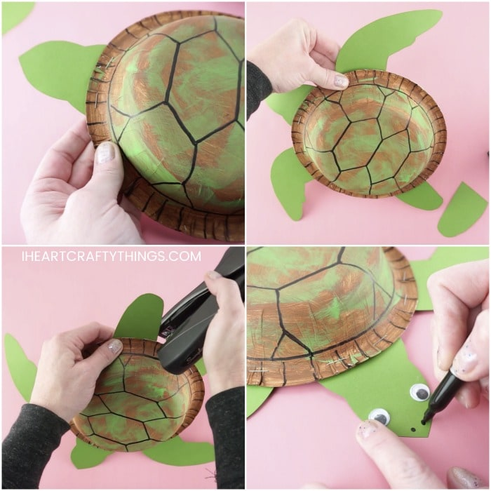 square four image collage showing steps for how to make a sea turtle craft