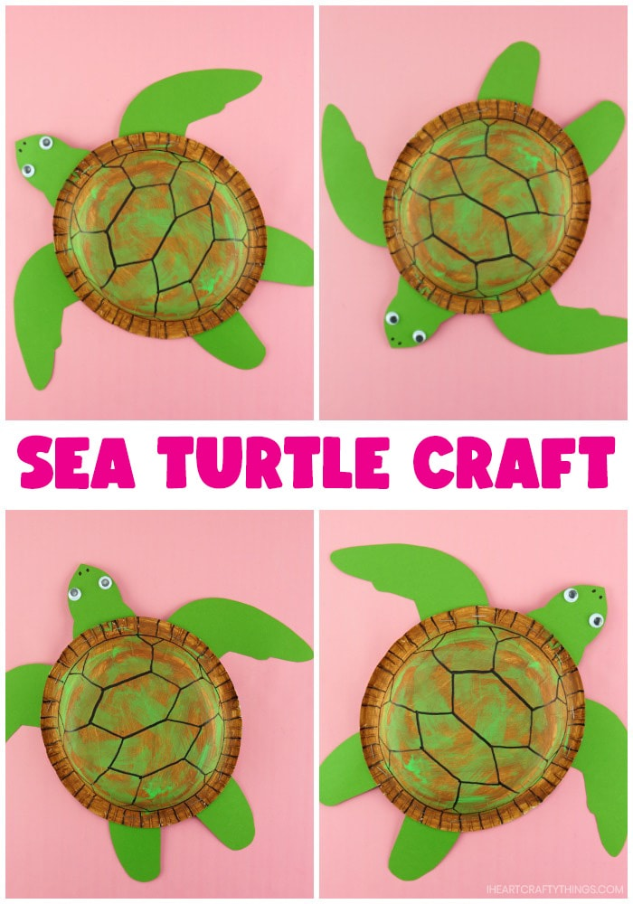 vertical collage photo showing finished sea turtle craft positioned four different ways