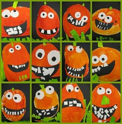 Goofy Pumpkin Faces with a pumpkin inspired lunch