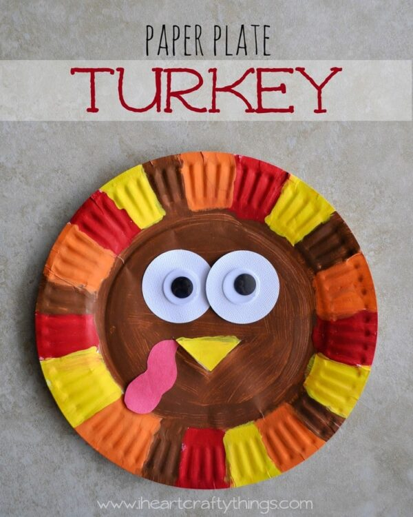 ... a turkey craft to share this week. We are no exception! After a trip to the library picking up some fun turkey books we made this adorable Paper Plate ... & Paper Plate Turkey | I Heart Crafty Things