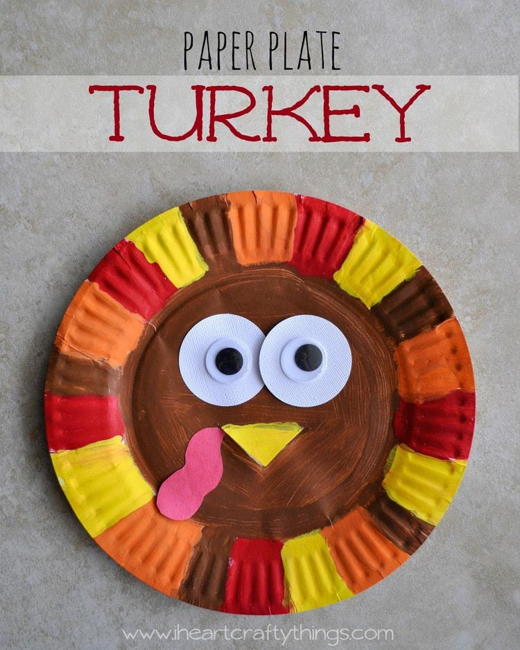 Paper plate turkey i heart crafty things for Thanksgiving turkey arts and crafts