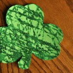 Marble-Painted Glitter Shamrocks and Leprechaun Hat Treats for Scavenger Hunt
