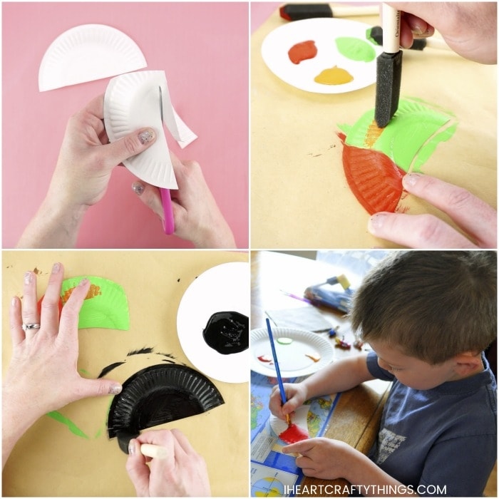 Four image collage showing steps for making a toucan craft.