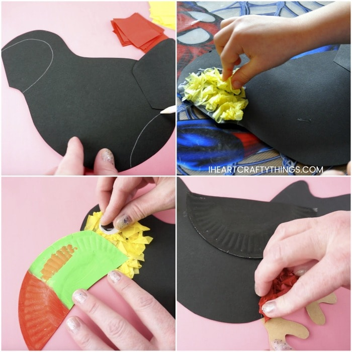 Square collage image showing step by step how to make a toucan craft.