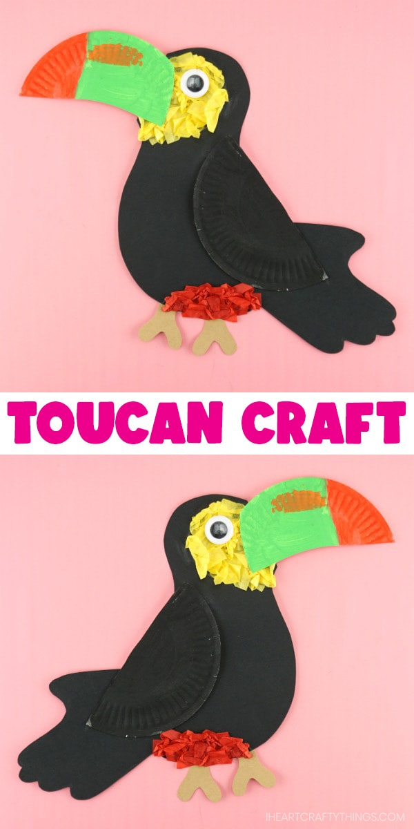 Vertical collage image with two toucan crafts facing opposite directions.
