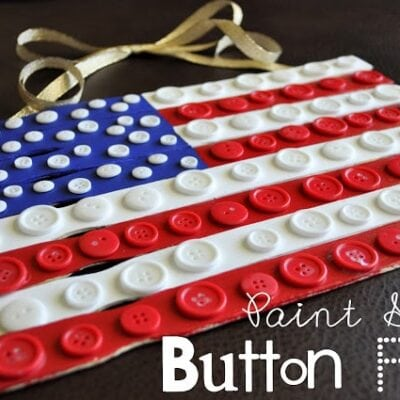 Paint Stick Button Flag Craft