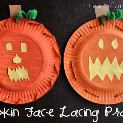 Pumpkin Face Lacing Practice