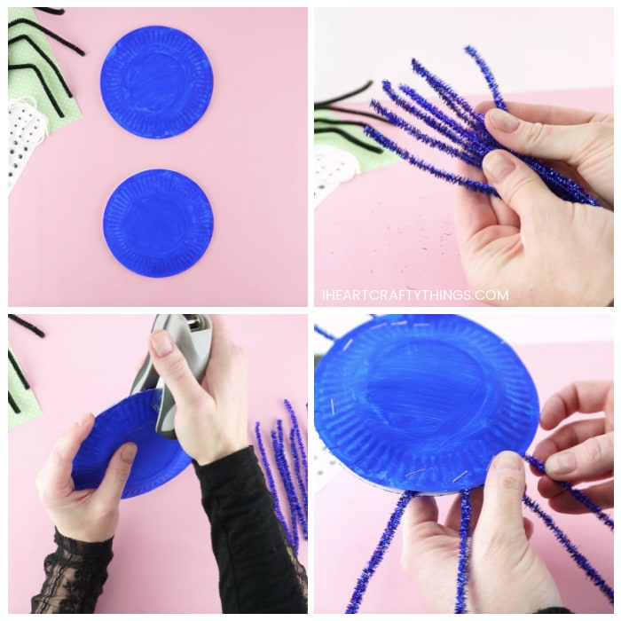 Four image collage showing two painted paper plates, four pipe cleaners cut in half for spider legs, and an adult stapling together plates and stapling pipe cleaner around the edge to make a paper plate spider.