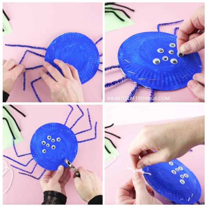 Four image collage showing an adult making a bend in the spider pipe cleaner legs, gluing googly eyes on the spider and attaching a string to the top of the paper plate spider for hanging.