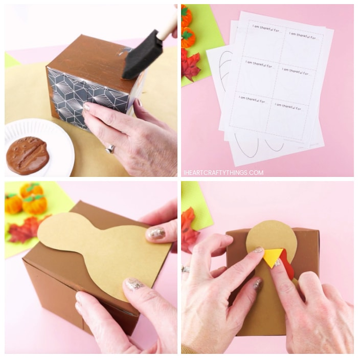 Vier Bildcollage, die zeigt, wie ein Erwachsener die Tissue-Box mit brauner Farbe bemalt, die ausgedruckte Truthahnschablone und der Erwachsene die Truthahnstücke auf die Vorderseite der Tissue-Box kleben.