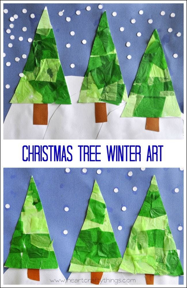 Christmas tree winter art i heart crafty things for Christmas tree art and craft