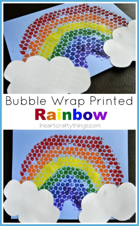 Bubble wrap painting turned into a beautiful rainbow with white clouds.