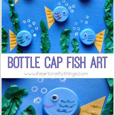 Bottle Cap Art (Fish and Flower Scene)