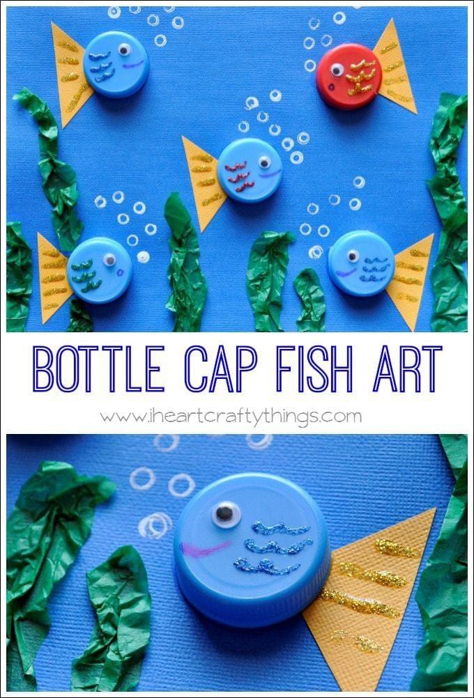 Bottle Cap Art Fish and Flower Scene