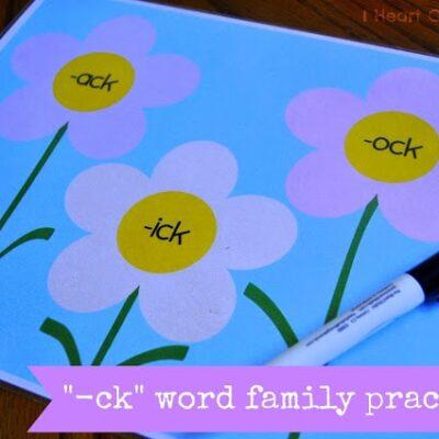 """-ck"" Word Family Practice"