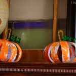 Shaving Cream Painted Paper Pumpkins