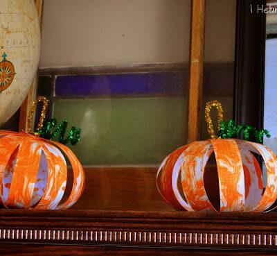 Shaving Cream Painted Paper Pumpkins