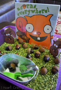 """Acorns Everywhere"" Sensory Bin"