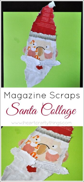 Kids Santa Craft From Magazine Scraps I Heart Crafty Things
