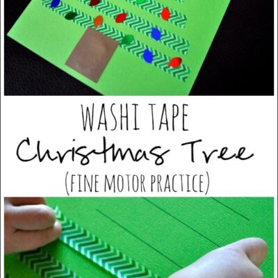 Washi Tape Christmas Tree Craft (Fine Motor Practice)