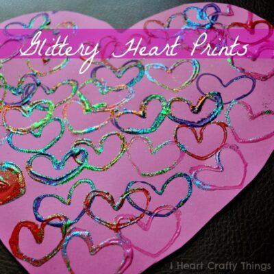 Glittery Toilet Paper Roll Heart Prints