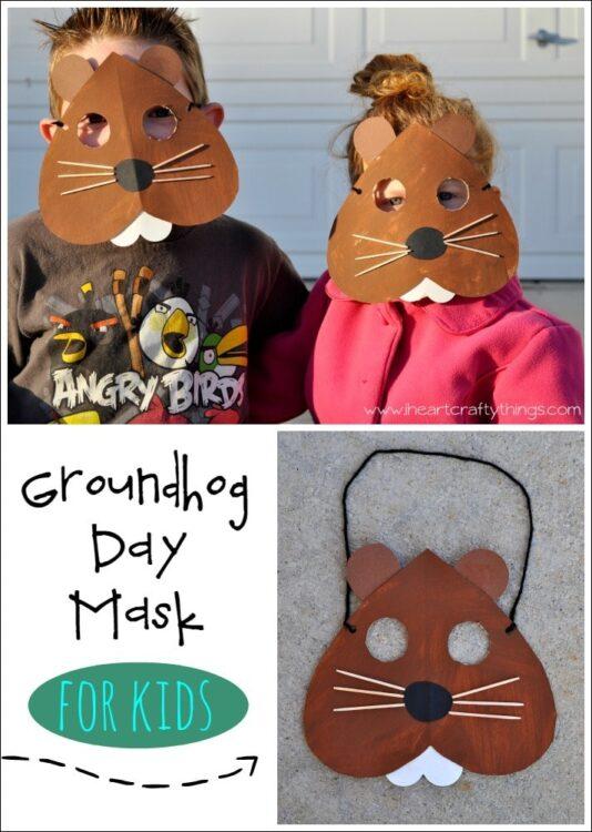 Groundhog Day Mask Craft | I Heart Crafty Things