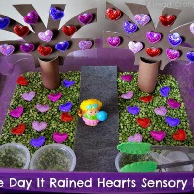 The Day It Rained Hearts Sensory Bin