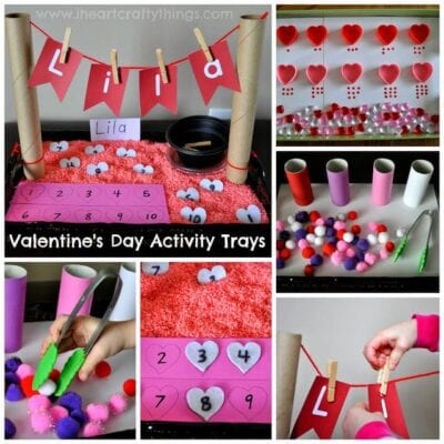 Valentine's Day Activity Trays (Fine Motor, Numbers, Counting, Sorting Name Recognition)