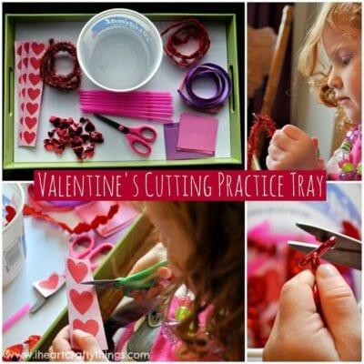 Valentine's Day Scissor Cutting Practice Tray