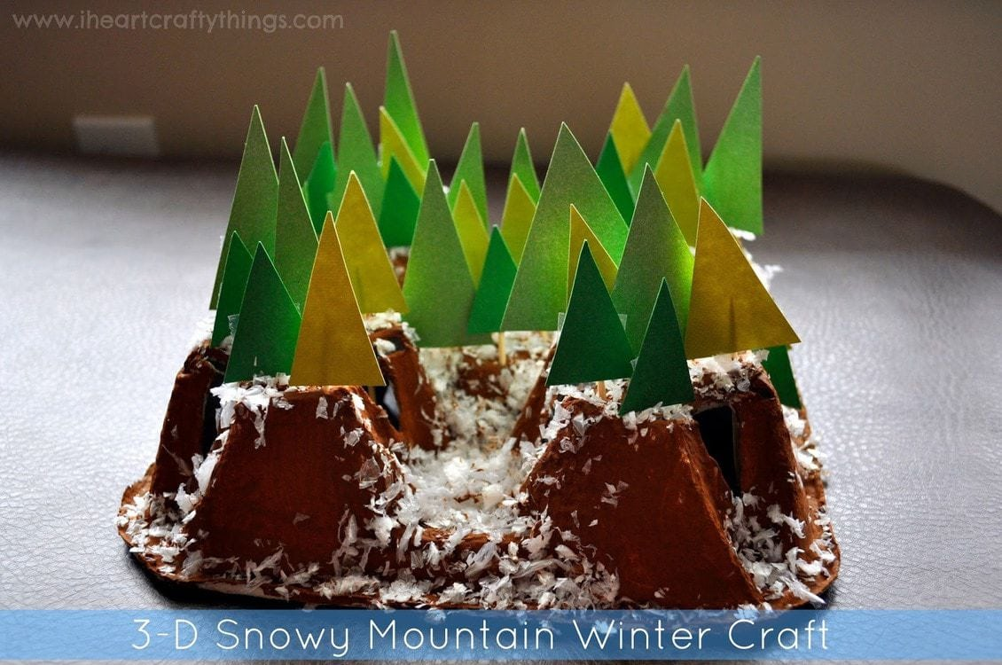 3 d snowy mountain winter craft out of recycled drink for How to make winter crafts