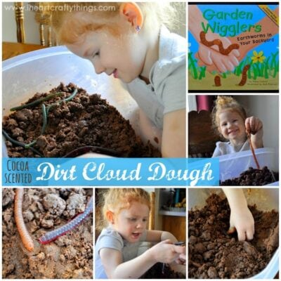 Cocoa Scented Cloud Dough…Digging for Worms Play!