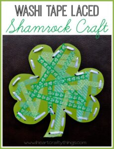 Washi Tape Shamrock Craft with Lacing Practice