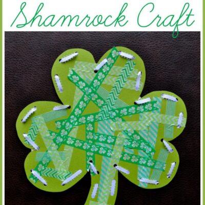 Washi Tape Shamrock Craft with Lacing Practice