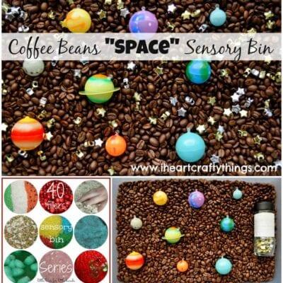 """Coffee Beans """"Space"""" Sensory Bin + 40 Days of Sensory Bin Fillers"""