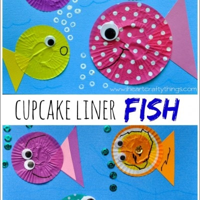 Fish Kids Craft out of Cupcake Liners