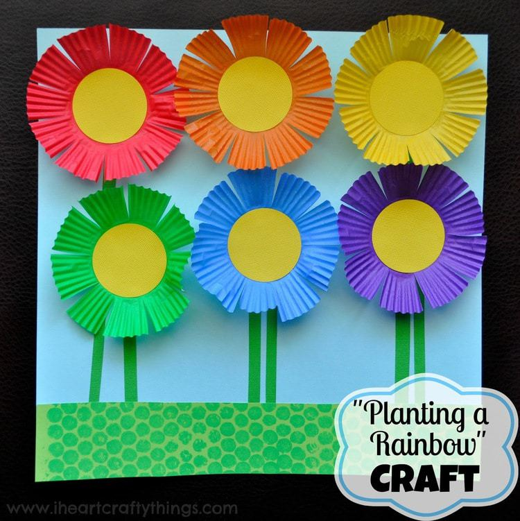 planting a rainbow flower craft