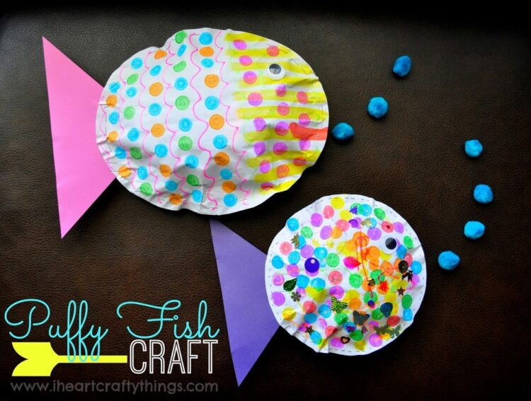 Puffy fish kids craft i heart crafty things for Fish crafts for preschoolers