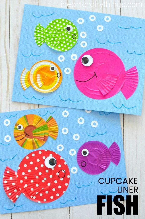 ocean animal cupcake liner crafts fish craft out of cupcake liners i crafty things 6973