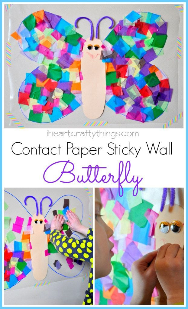 Contact paper sticky wall butterfly craft i heart crafty for Craft work for class 3