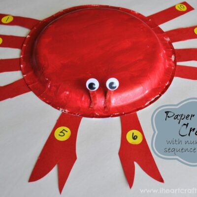 Paper Plate Crab Craft with Numerical Sequence Practice