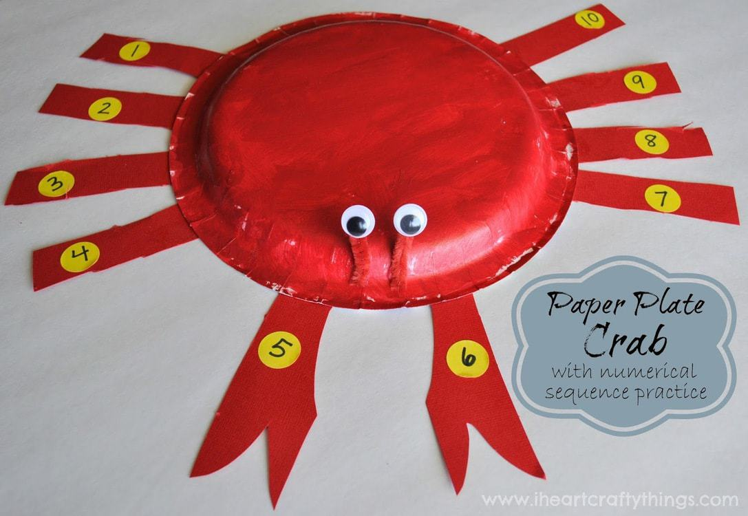 Paper Plate Crab Craft with Numerical Sequence Practice | I Heart Crafty Things & Paper Plate Crab Craft with Numerical Sequence Practice | I Heart ...