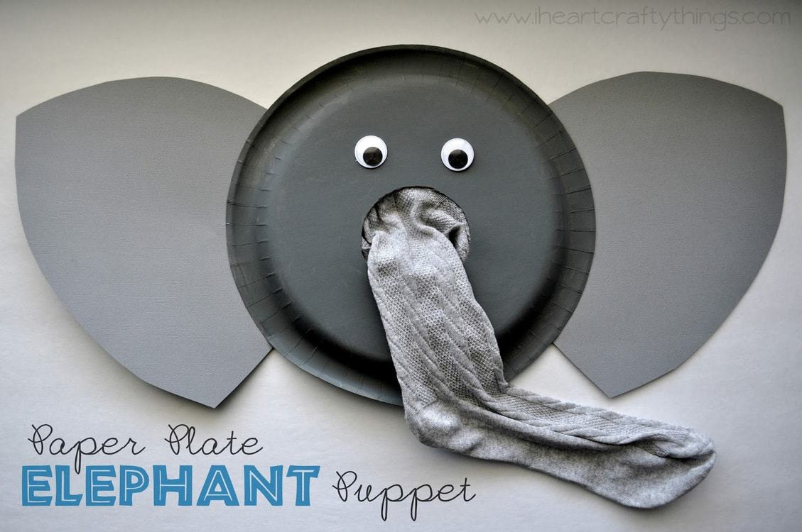 Paper Plate Elephant Puppet Craft | I Heart Crafty Things
