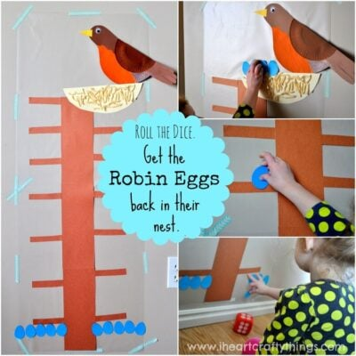 Robin Eggs Math Game with Contact Paper
