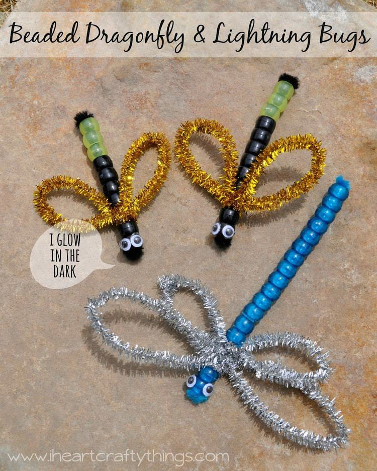 Dragonfly arts and crafts - Balloon Print Ladybug Kids Craft Beaded Dragonfly Lightning Bugs